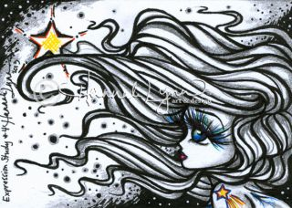 Original Expression Study 4 Sketch Card ACEO Fantasy Fairy Comic Art