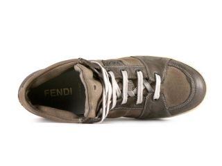 Fendi men high sneakers shoes in Light Brown Cotton Size US 9.5   EU