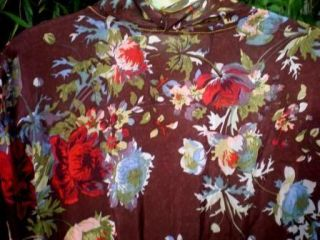 Johnny Was Sheer Rayon Dress L Brown Floral Print Red Green Pockets V