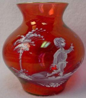 Fenton Crystal Mary Gregory Ruby Vase Boy Butterfly