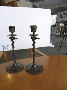 Old Ferdinand Barbedienne French Bronze Serpent Snake Candlesticks Art