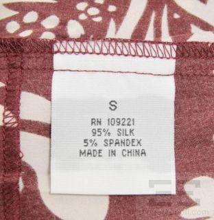 Fernando Sanchez Burgundy & White Floral Print Silk Wrap Dress Size