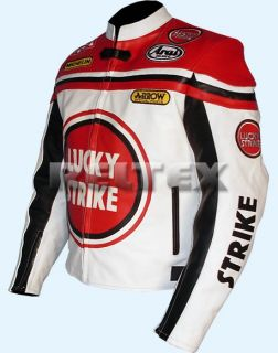 Lucky Strike White Red Biker Motorcycle motorbike 100 Leather Jacket