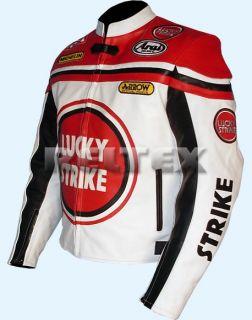 Lucky Strike White Red Biker Motorcycle motorbike 100 Leather Jacket
