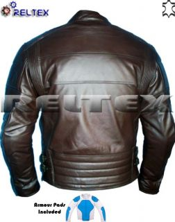 Harley David Classic Style Brown Motorcycle CE Armoured Leather Jacket