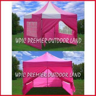 10x10 Pop Up Canopy Party Tent Gazebo EZ Pink Pink White