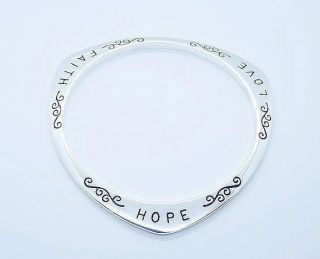 Wonderful Jewelry Hope Faith Love Silver Bangle Cuff Bracelet