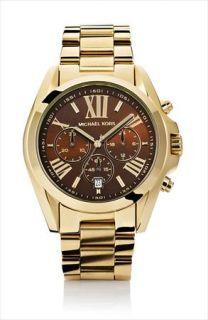 NIB Michael Kors Chronograph Watch Bradshaw Two tone Espresso & Gold