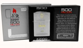 Zippo Lighter 28412 500 Millionth Replica Edition Brushed Chrome New