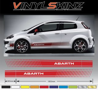 Fiat Punto Abarth Premium Side Stripes Decals Stickers Kit 500 500C
