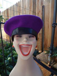 Eric Javits Bollman & Co. 100% wool doeskin felt purple & black beret