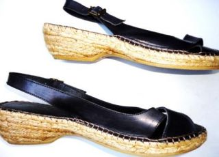 ERIC MICHAEL BLACK SLINGBACK SANDALS Womens Shoes Size 9   9.5