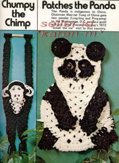 Macrame Animal Art Vol II Vintage Pattern Book Raccoon Panda Monkey