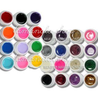 12 Pure 16 Glitter Color UV Builder Gel Nail Art False Tips Salon Set
