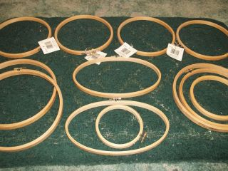 Embroidery Wood Rings Hoops Cross Stich Needlepoint Lot of 12