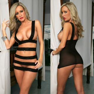 Hot Sexy Lingerie Black Lace Belts Cross Mini Dress Babydoll Stripper