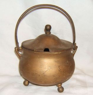 VINTAGE BRASS FIRE STARTER CAULDRON POT COVER LID FIREPLACE TOOL