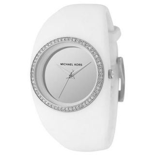 Michael Kors MK5230 Womens White Strap Crystal Accented Bezel Silver