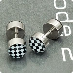 Checker Fake Ear Plug Piercing Cheater Earring Men Stud