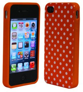 Soft Plastic Orange White Small Polka Dots Shell Case Cover iPhone 4