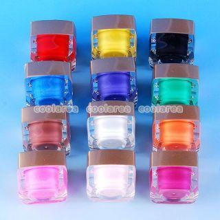 12 Pure Solid Color Glaze Opaque UV Builder Gel Salon Nail Art Tips