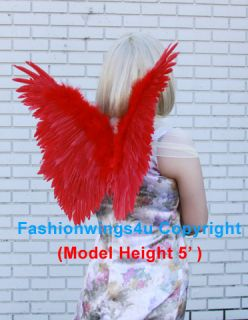 Childrens RED Macaw Fairy Butterfly Fire Birds costume feather angel