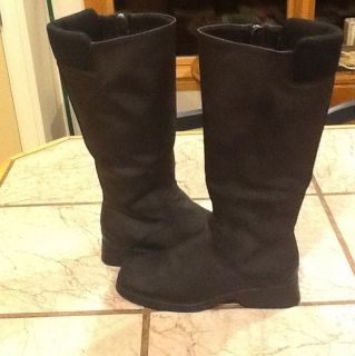 ETIENNE AIGNER BLACK MAN MADE RIDING STYLE TALL RAIN / SNOW BOOTS 8 M
