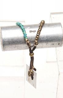 Turquoise Hishi Stone METAL Bead Adjustable Bracelet   Ettika
