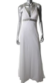 FAVIANA New White Embellished Chiffon Lined Full Length Formal Dress 4