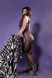 Bodystocking w Feet Nylon Sleeveless Bodyhose Blk Tan