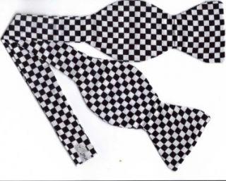 Self Tie Bow Tie Black White Checkered Flag 1 4 Checks