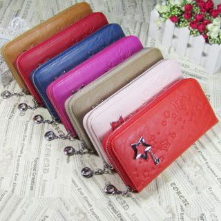 Colorful New Fashion Star Diamond Zip Women Lady Leather Clutch Wallet