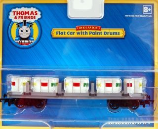HO Scale Train Thomas Friends Flat Car with Paint Drums 77027