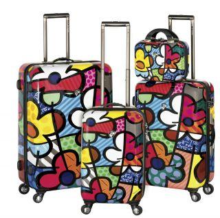 Romero Britto 4 piece Luggage Heys Set FLOWERS FLOWER Carry on Art