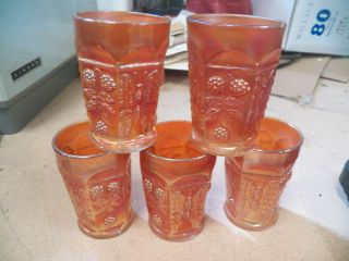 Fenton Butterfly and Berry Marigold Carnival Lot of 5 Tumblers Glasses