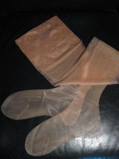 Flat Knit Sheer Nylon Stockings Hosiery 8 5 Sandalfoot