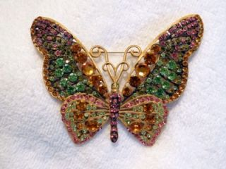 Huge Jay Feinberg Strongwater Butterfly Swarovski Crystal Brooch RARE