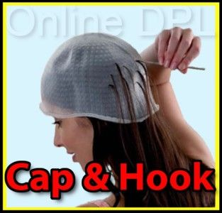 Professional Reusable Hair Colouring Highlighting Cap & Hook Frosting