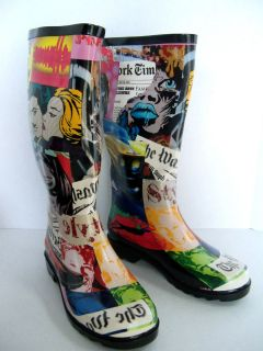 Henry Ferrera of New York Ladies Rain Snow Boots Faces Pattern Sizes