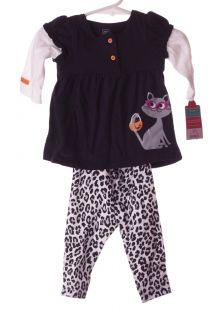 Carters Baby Girl Glitter Cat LS Doll Top Cheetah Pants Leggings NB 3