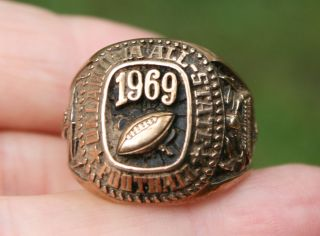 1969 OKLAHOMA ALL STATE HIGH SCHOOL FOOTBALL RING 10K GOLD 13 2 GRAMS
