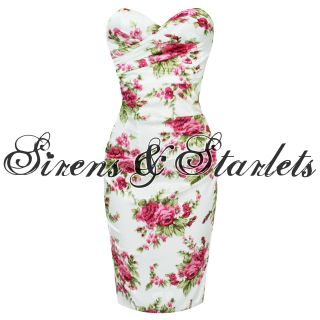 Ladies New Pink White Floral Tight Satin Vtg Pencil Evening Cocktail