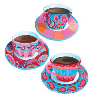 Cup Anna Maria 25 Color Cups Blue Purple Pink Damask Wallies Stickers