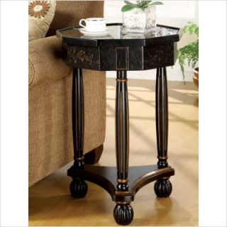 Wildon Home Ferron Decorative End Table w Inlayed Design Top Antique