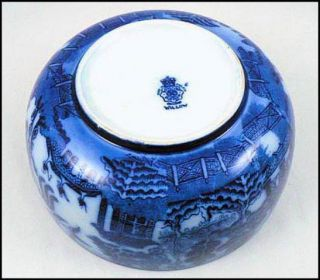Lovely Antique Royal Doulton Flow Blue Willow Porcelain Bowl England