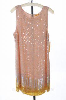 Alice Olivia 12 L Pink Peach Sequin Shift Dress Boatneck Slvls $550