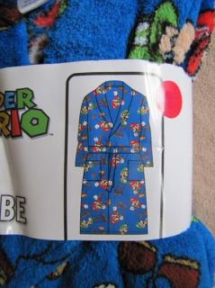 NINTENDO Super Mario Blue Fleece Plush Bath Robe Pajamas sz 7/8