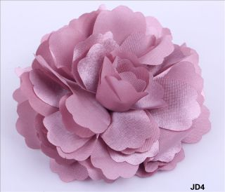 Lady Headdress Flower Satin Fabric Hair Clip / Pin Brooch Corsage