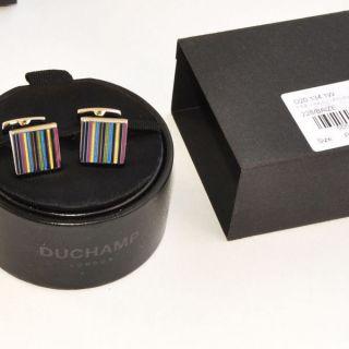 100 new DUCHAMP cufflinks fine line enamel 150 authentic gift box