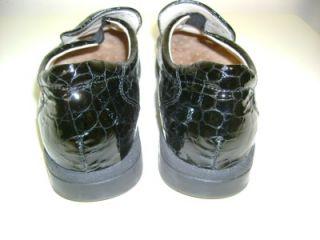 Finn Comfort Womens Black Patent Croc Loafers Shoes Sz 5 Germany